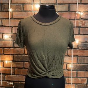 Garage Army Green Very Soft Tied Front Tee